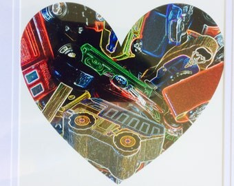 Toy car art print heart