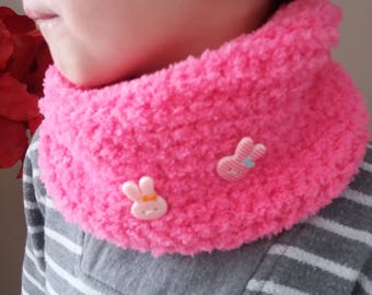 SNOOD NECK PINK /TOUR KNIT WOOL DECORATED WITH BUTTONS RABBITS