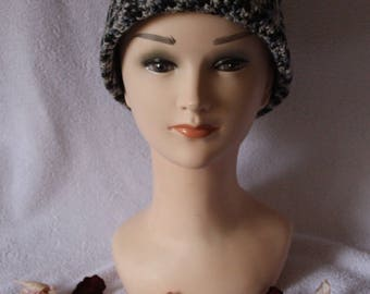Heather black and grey hat with Pompom crochet