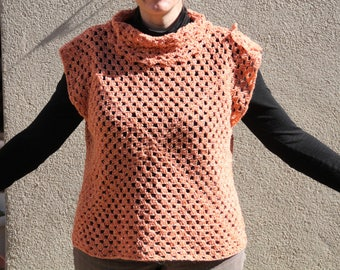 Sweater vest crochet acrylic orange
