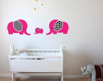 Elephant Family Wall Decal-Elephants Wall Decals-Animal decals-Family sticker-Nursery Vinyl Modern Decals-Elephant Wall stickers-Kids decor