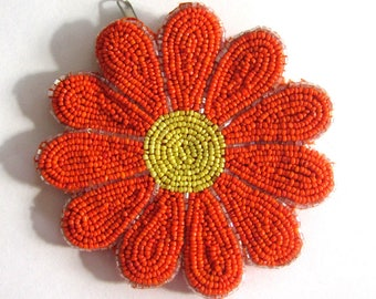 Bright Orange and Yellow Daisy Purse