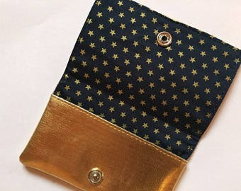Faux leather gold, lined cotton wallet stars
