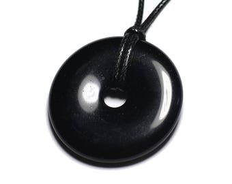 Stone - obsidian black IP 40mm Donut pendant necklace
