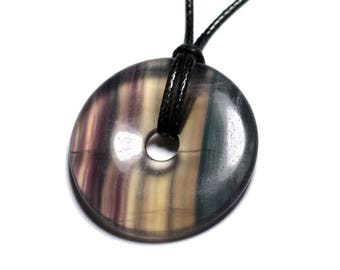 Fluorite - stone pendant necklace multicolor Donut Pi 40mm