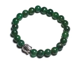 Dark green gemstone - Aventurine and Buddha bracelet