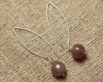 Pair of earrings stone semi precious Sunstone