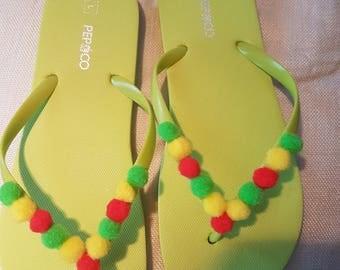 Rasta inspired flip flops size large