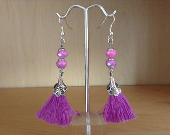 Earrings tassel/Acorn glass faceted beads