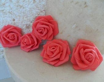 set of 5 coral flowers 6.5 cm appliques for sewing or craft