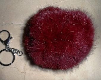 large round genuine rabbit fur Pompom gift + 11 cm