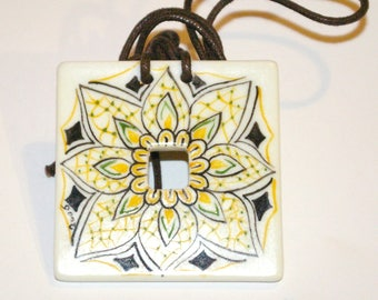 Jewel square porcelain pendant art deco hand painted