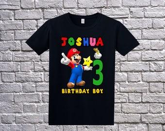 Super Mario shirt, Super Mario Birthday T-Shit, Mario Name Age, Custom Mario Shirt, Personalized Super Mario Apparel, Mario Birthday Party