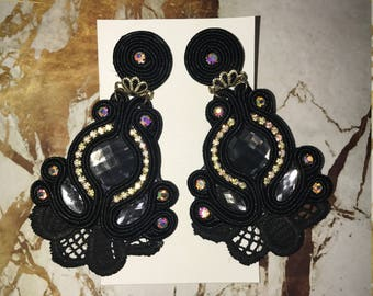 Maxi Black Lace Earrings