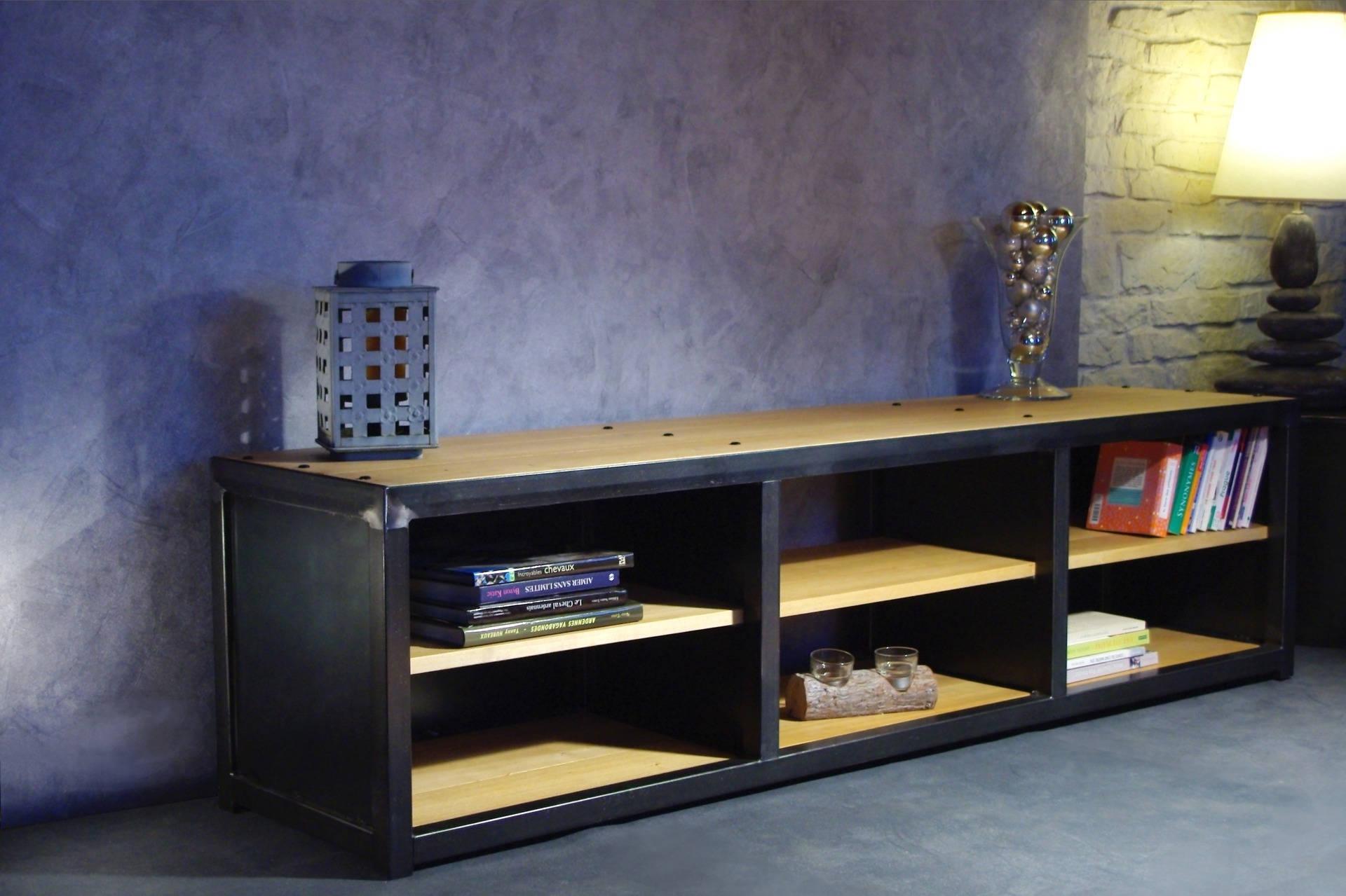 meuble tv ou autre fer et bois. Black Bedroom Furniture Sets. Home Design Ideas