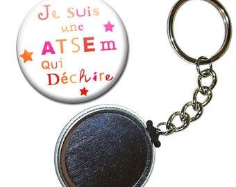 Keyring Badge 38 mm - I'm a school that rocks kindergarten kids gift