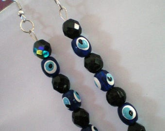 Dangling earrings - eye door happiness and clear - h 7 cms approx
