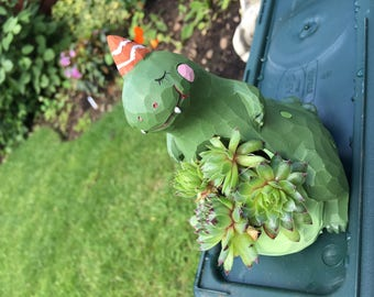 Dinosaur planter with succulents, cute gift!