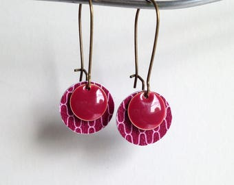 Earrings - raspberry Stud Earrings - silver metal