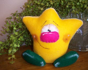Primitive Folk Art Handcrafted Spring Easter Yellow Tulip Shelf Sitter Doll Holiday Decor