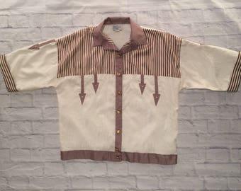 Vintage oversized 80s shirt // geometric shirt // large size shirt // striped shirt