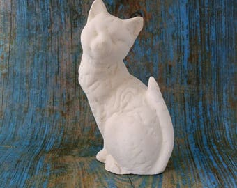 large sitting cat plaster blank