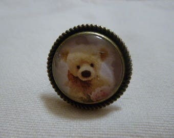 Ring adjustable glass cabochon, bronze color support Teddy bear