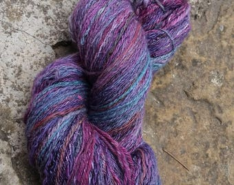 spun and dyed by hand - Merino Wool and viscose 100g