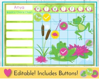Frog Lily Pond Editable Chore Chart, Reward Chart, Behaviour and Responsibility Chart, Printable Chart, Task Chart, Toddler Routine Chart