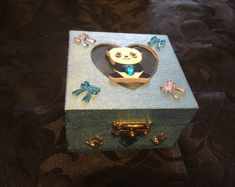Wooden panda themed trinket box in turquoise