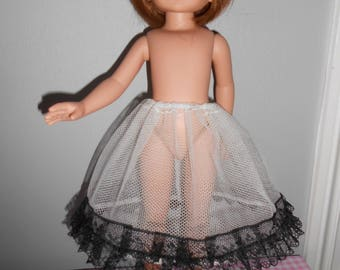 "Doll clothes for Little Darling of Dianna Effner or Betsy McCall - Thunder - 33 cm 14 ""- underskirt in tulle Black Lace"