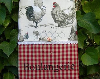 Chic country bread bag in cotton checkered and his hens and sign painting