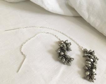 Silver Cluster Drop Threader Earrings