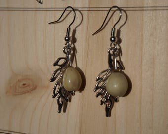 earrings with silver metal leaf and job's tears
