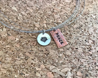 Peace and lotus flower necklace
