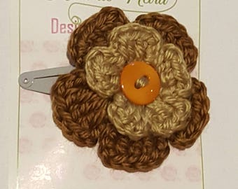 beige and brown flower hair clip