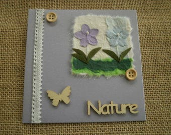 "Double square card, purple color, message ""nature"" + matching envelope"