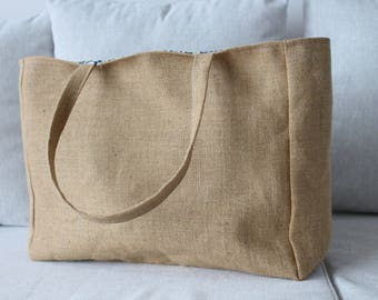 Lined burlap tote bag