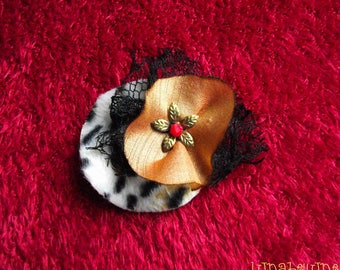 Fabric hair clip retro leopard, silk and lace wig