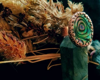 Abalone & Copper Ring US 7 3/4
