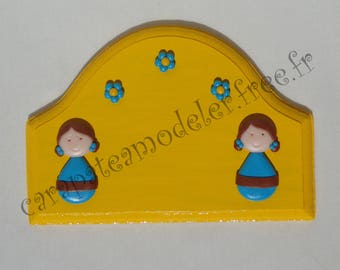 Little girls yellow and blue door sign