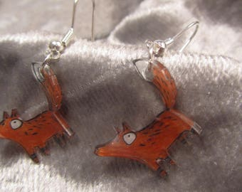 "Earrings ""Fox"" Creat'Y. O.N - unique and fun-"