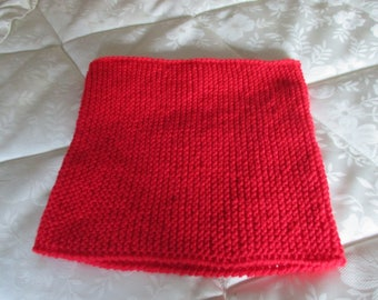 Red Snood in garter stitch for women