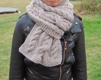 Large mixed Irish knit stitch scarf