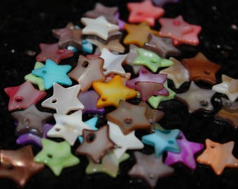 5 x charm shell - star - color mix