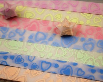 10 x Lucky star strips (blue heart) - Star lucky glow... COLOR I LOVE YOU APRICOT