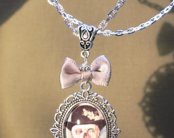"Necklace ""skull with hat"" steampunk, retro, fantasy."