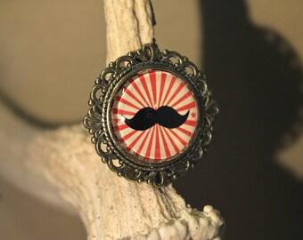 """Bague réglable en métal couleur bronze, Steampunk rétro vintage, """"Moustache"""""""