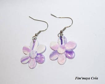 """Earrings """"tenderness flowers"""" pink and pastel purple"""