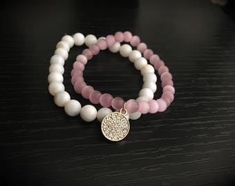 2 Layered Pretty in Pink Bracelets